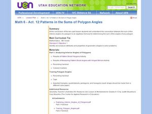 Patterns in the Sums of Polygon Angles Lesson Plan