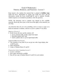 Patterns, Relations, and Functions: Lesson 3 Lesson Plan