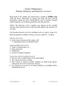 Patterns, Relations, and Functions: Lesson 6: Patterns Lesson Plan