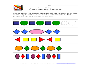 Patterns Worksheet    Complete the Patterns Worksheet