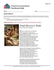 Paul Revere's Ride Worksheet