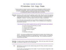 PC Activities - Cut - Copy - Paste Worksheet