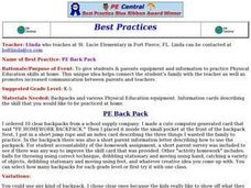 PE Back Pack Lesson Plan