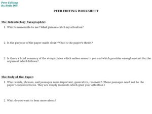 Peer Editing Worksheet, #2 Lesson Plan