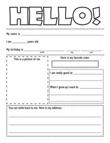 Pen Pal Template Hello 1st 4th Grade Printables