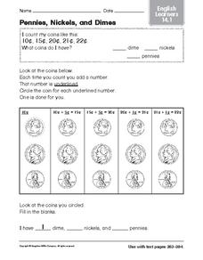 Pennies, Nickels, and Dimes: English Learners Worksheet