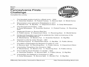 Pennsylvania Firsts Challenge Worksheet