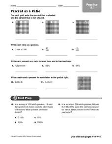 Percent as a Ratio - Practice 17.1 Worksheet