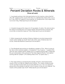 Percent Deviation Rocks and Minerals Worksheet