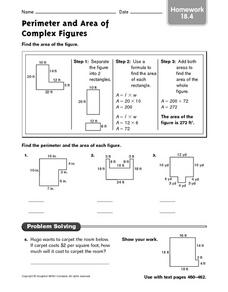 Perimeter and Area of Complex Figures homework 18.4 Worksheet