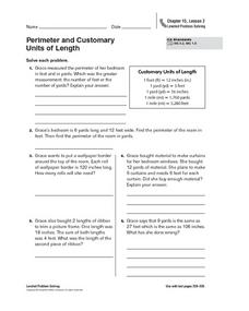 Perimeter and Customary Units of Length Worksheet