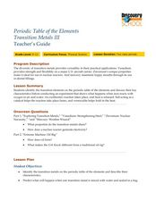 Periodic Table of the Elements: Transition Metals Lesson Plan