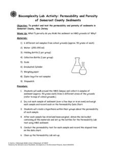 Permeability and Porosity of Somerset County Sediments Lesson Plan