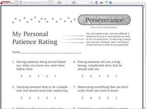 ... My Personal Patience Rating 3rd - 5th Grade Worksheet | Lesson Planet