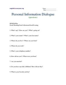 Personal Information Dialogue Worksheet