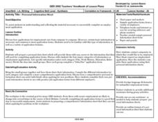 Personal Information Sheet Lesson Plan