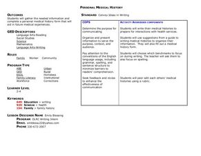 Personal Medical History Lesson Plan
