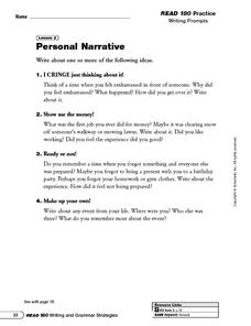 Personal Narrative Writing Prompts and Writing in First Person Worksheet