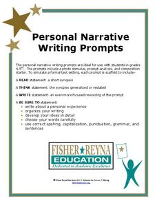Personal Narrative: Writing Prompts Worksheet