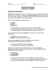 Personal Pronouns: Putting It All Together Worksheet
