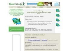 Personal Savings: Saving Money for Those Items you Really Want Lesson Plan