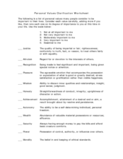 Personal Values Clarification Worksheet 7th - 12th Grade Worksheet ...