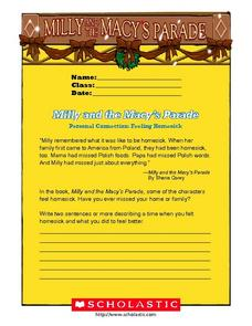 Personal Writing: Milly and the Macy's Parade Worksheet