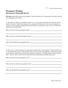 writing introduction worksheet