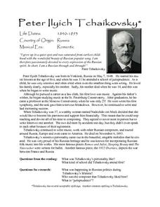 Peter Ilyich Tchaikovsky Lesson Plan