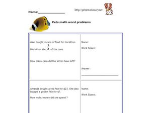 Pets Math Word Problems Worksheet