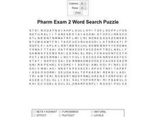 Pharm Exam 2 Word Search Worksheet