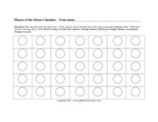 Phases of the Moon Calendar Worksheet