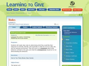 Philanthropic Behavior Lesson Plan