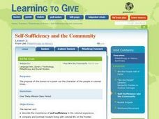 Philanthropy in History Lesson 3:  Self-sufficiency And the Community Lesson Plan