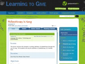 Philanthropy in Song Lesson Plan