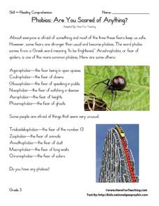 Phobias: Are You Scared of Anything? Worksheet