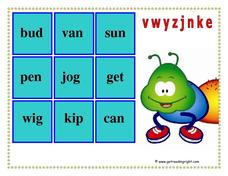Phonic Noughts and Crosses: v, w, y, z, j, n, k, e Worksheet