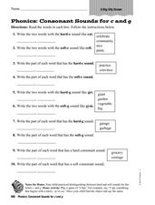 "Phonics: Consonant Sounds for C and G-""A Big City Dream."" Worksheet"