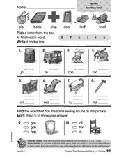 Phonics: Final Consonants b, k, s, r, f, l Worksheet
