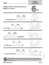 Phonics: Final x Worksheet