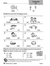 Phonics: Long e: e, y Review Worksheet