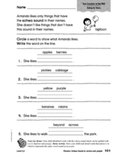Phonics: Schwa Sound in Across and People Worksheet
