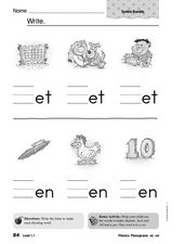 Phonograms: -et and -en Worksheet