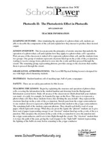 Photocells II: The Photoelectric Effect in Photocells Lesson Plan