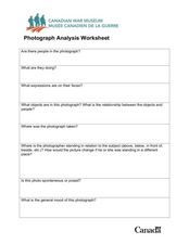 Photograph Analysis Worksheet Worksheet