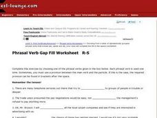 Phrasal Verb Gap Fill R-S Worksheet