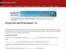 Phrasal Verb Gap Fill Worksheet H-L Worksheet