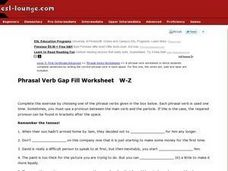 Phrasal Verb Gap Fill Worksheet W-Z Worksheet