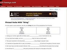 "Phrasal Verbs With ""Bring"" Worksheet"