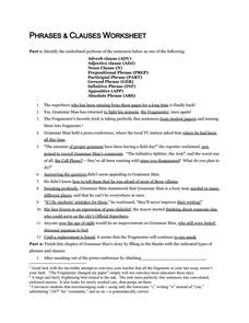 Phrases and Clauses Worksheet 7th - 12th Grade Worksheet | Lesson ...